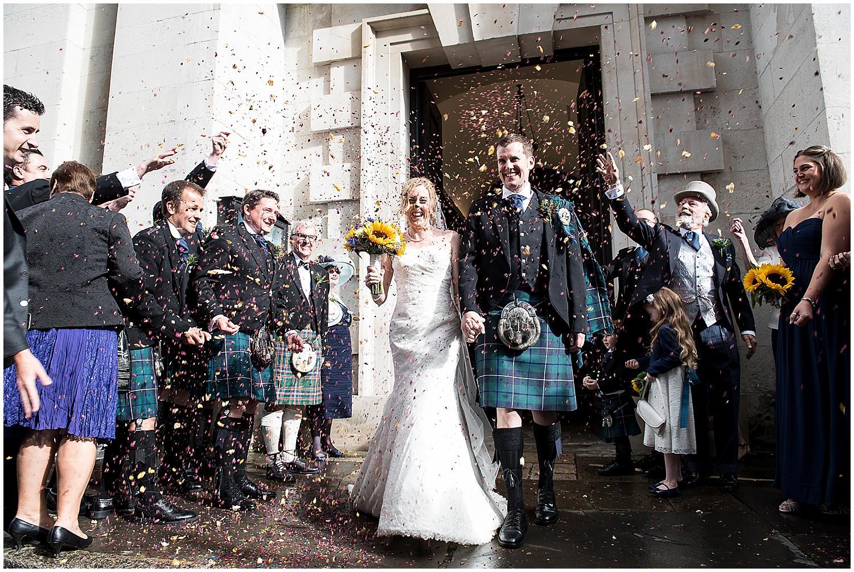 fantastic organic confetti at st.alfege church wedding in greenwich