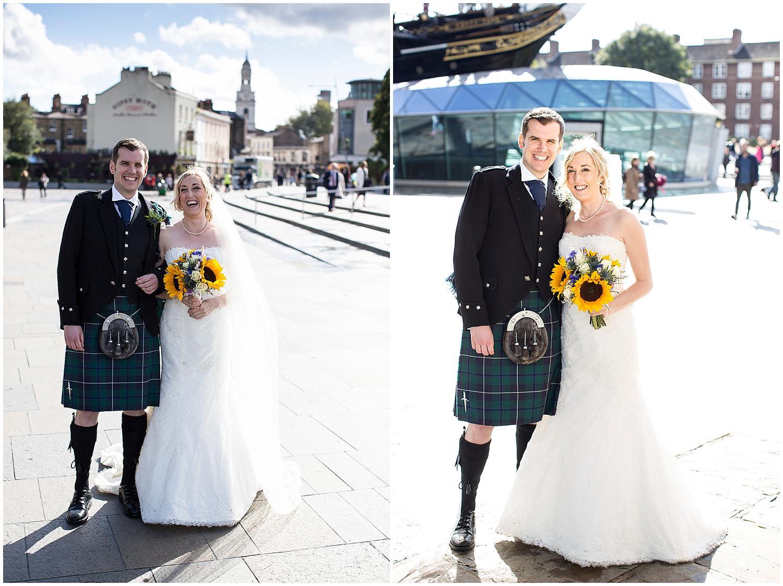 stunning brides dress and grooms kilt at greenwich wedding