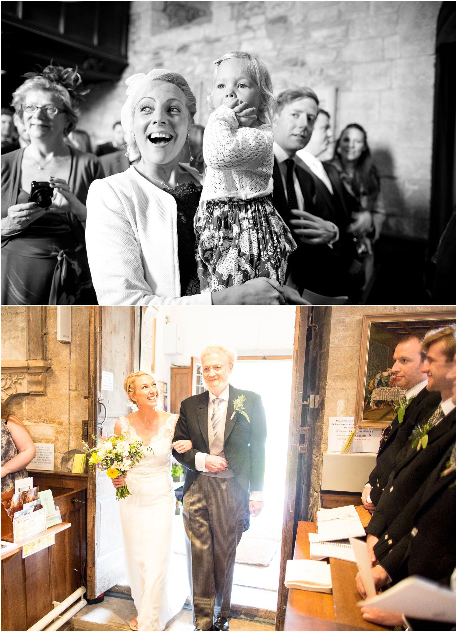 bride arrives to studland wedding in dorset