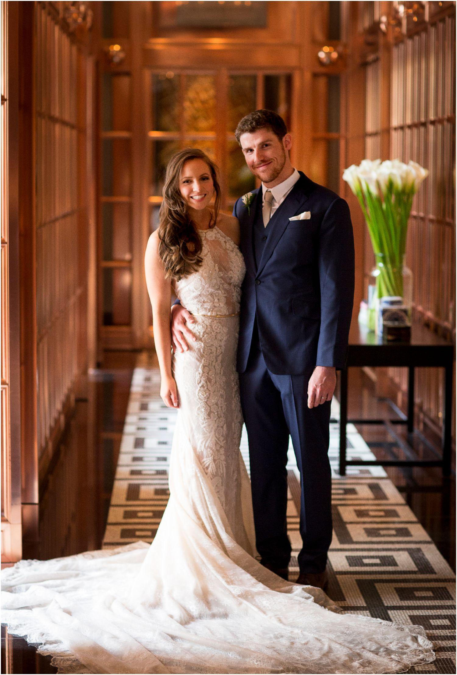 bride and groom portraits mirror corridor rosewood hotel