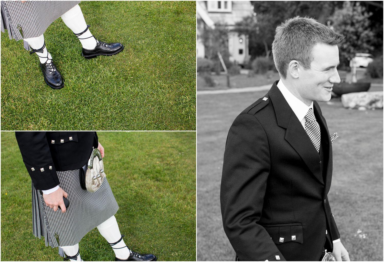 groom in studland wearing northumberland tartan
