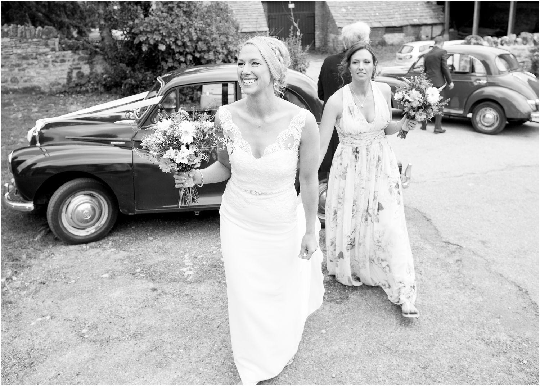 Brides arrives at wedding shot by Harry Warren House Dorset Studland Wedding Photographer
