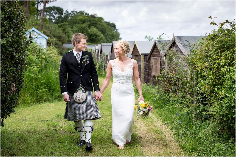 beach hut wedding photographs