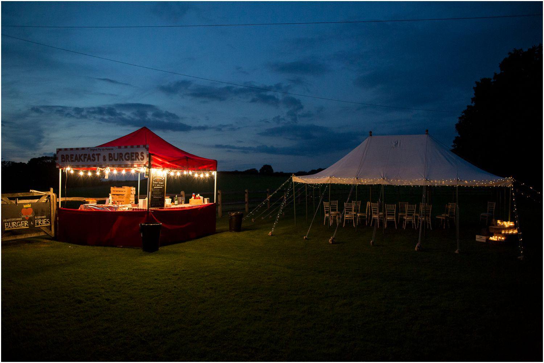 evening food at bartholomew barn wedding