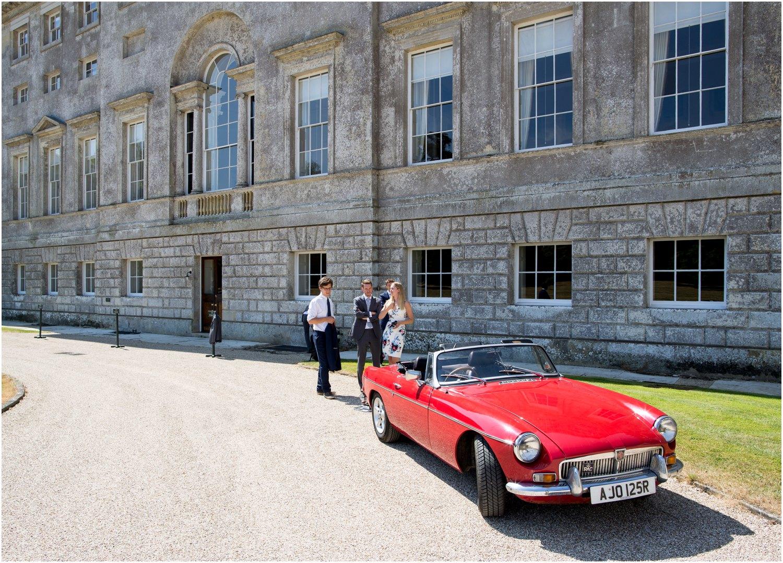 mg midget wedding car at wardour castle wedding