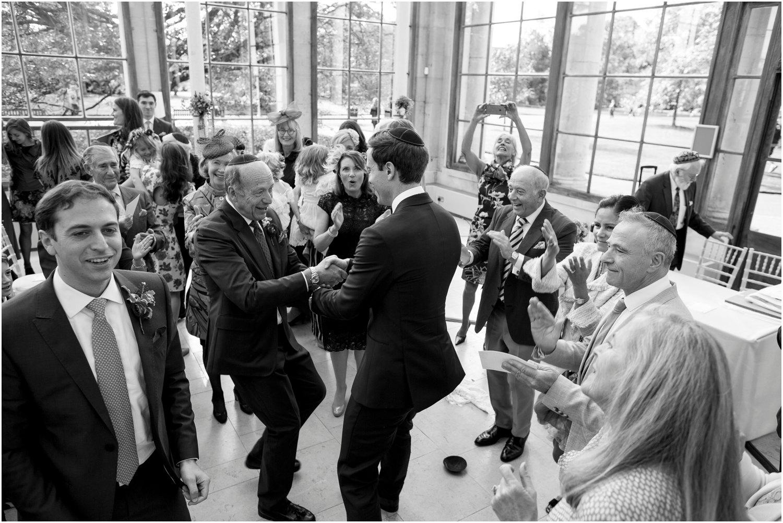 wedding guest dance at jewish wedding in Nash Conservatory in Kew Gardens